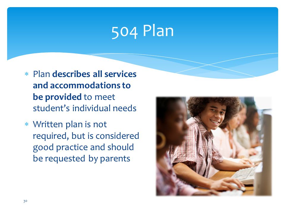 504 Plan Plan describes all services and accommodations to be provided to meet student's individual needs.