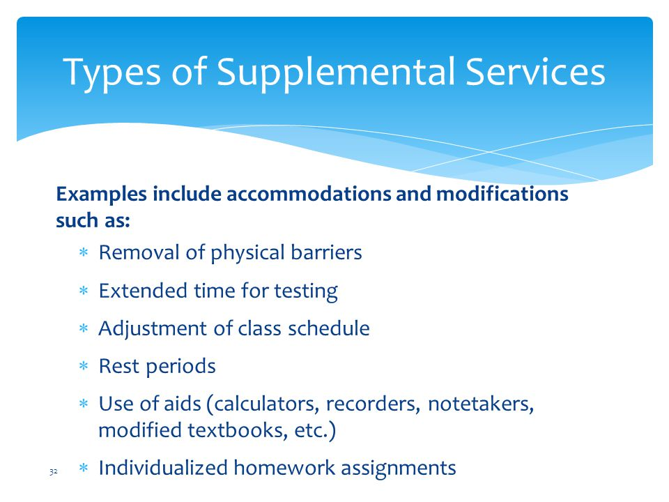 Types of Supplemental Services