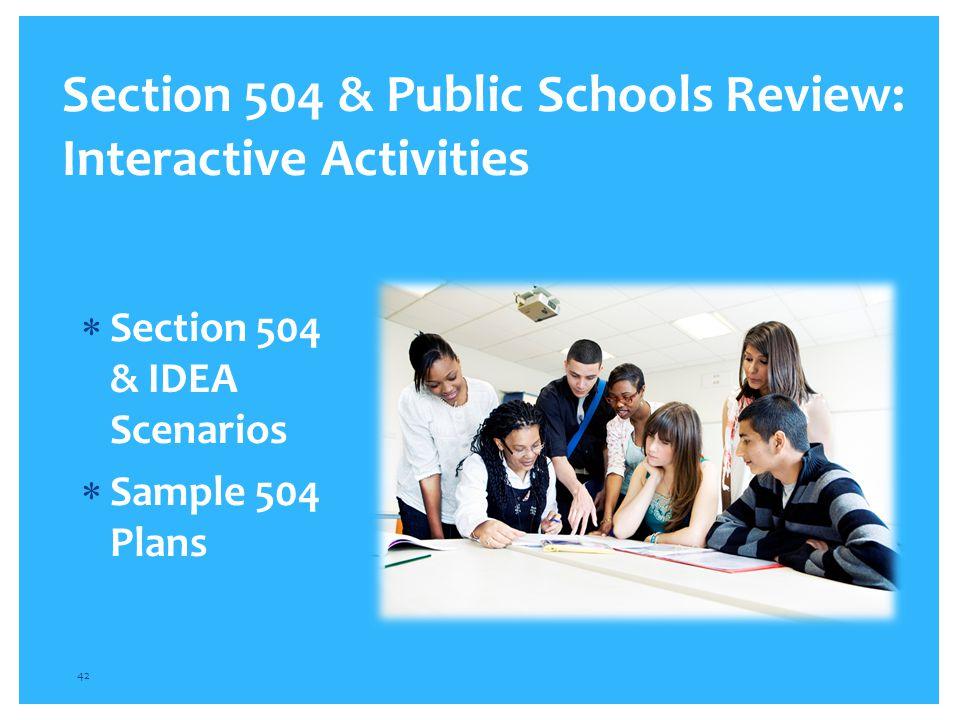 Section 504 & Public Schools Review: Interactive Activities