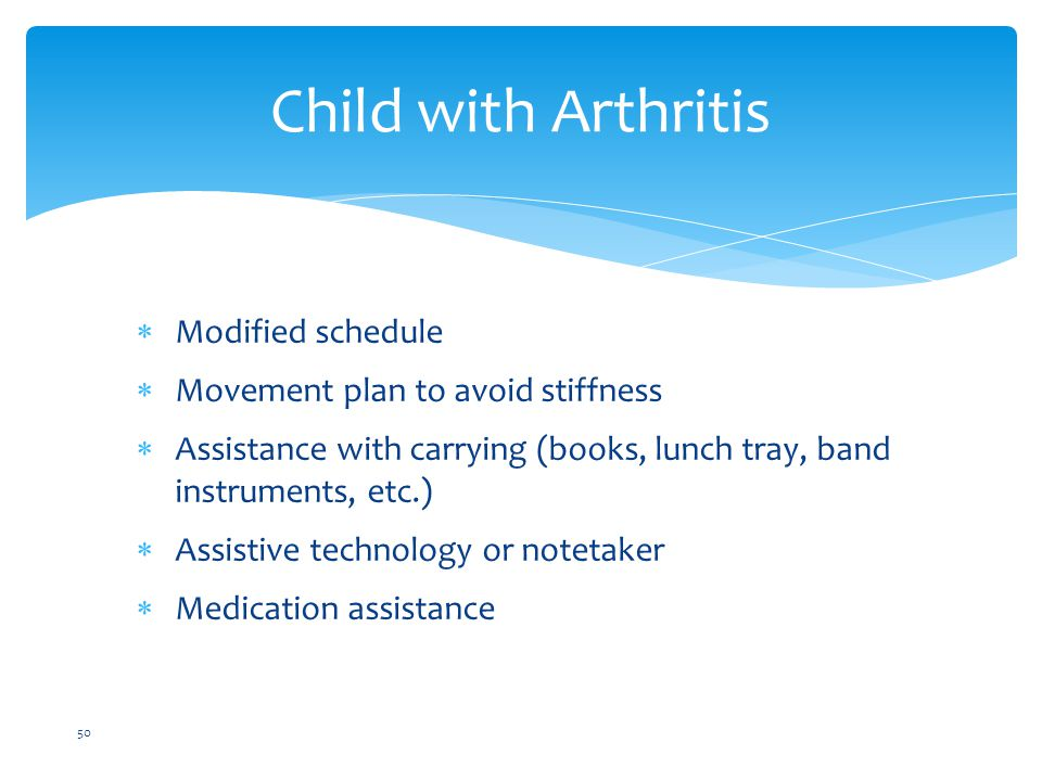Child with Arthritis Modified schedule