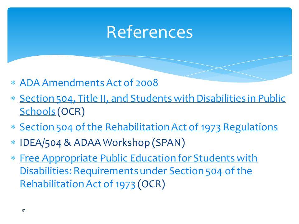References ADA Amendments Act of 2008
