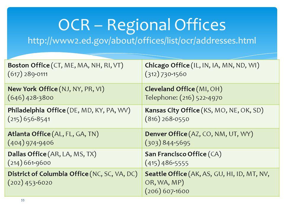 OCR – Regional Offices http://www2. ed