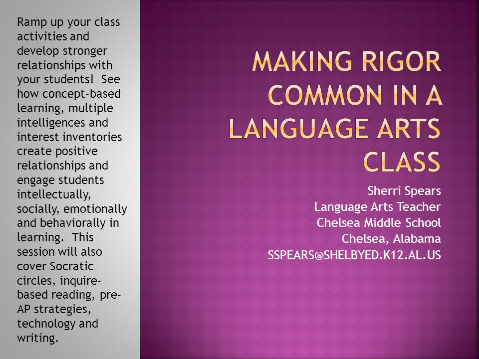 Making Rigor Common in a Language Arts Class