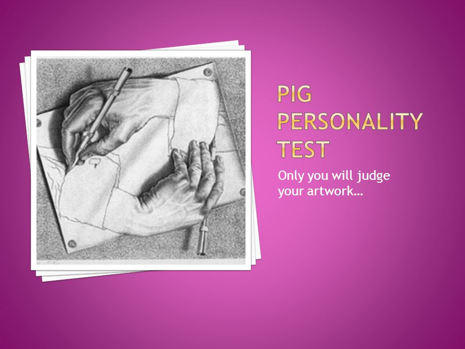 Pig PERSONALITY TEST Only you will judge your artwork…