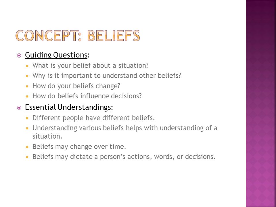 Concept: beliefs Guiding Questions: Essential Understandings: