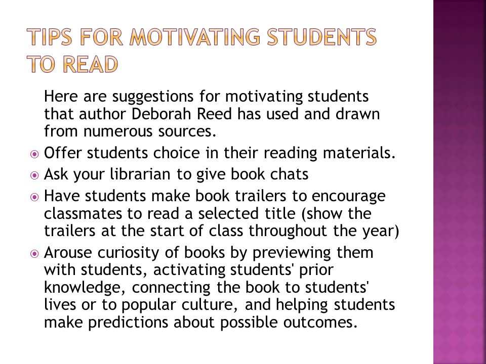 Tips for motivating students to read