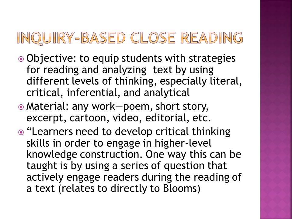 Inquiry-based close reading