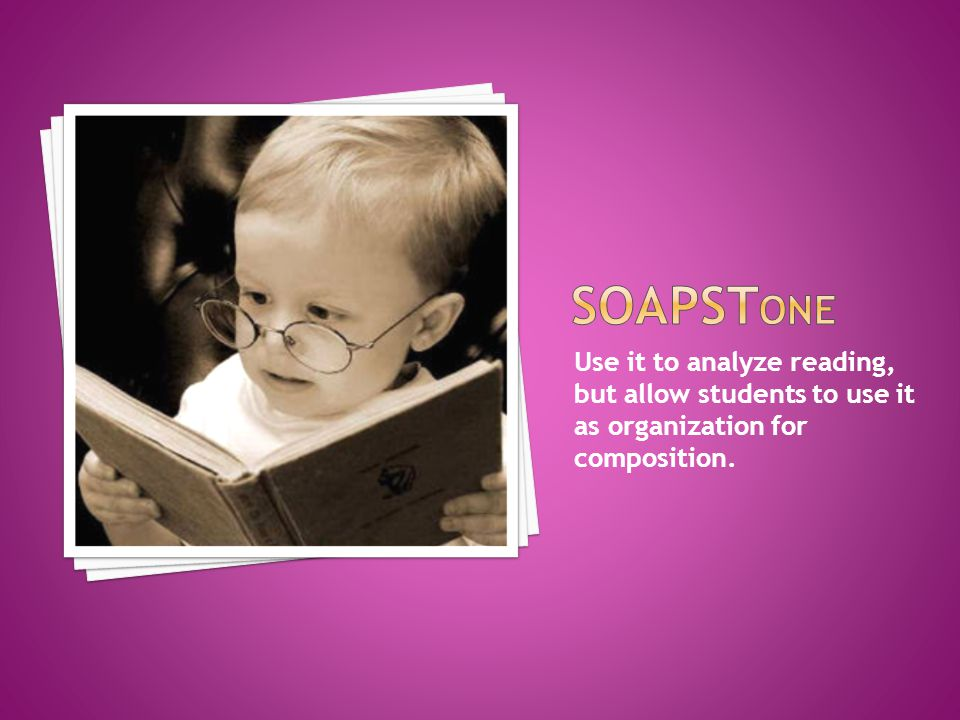 SOAPSTone Use it to analyze reading, but allow students to use it as organization for composition.