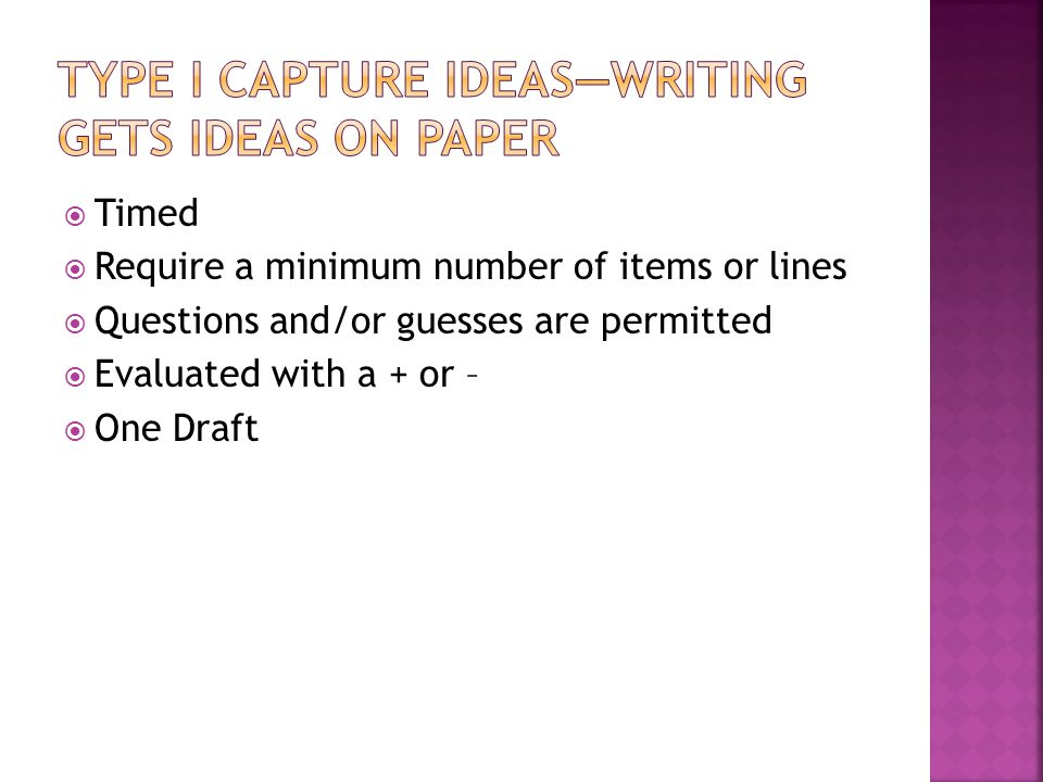Type I Capture Ideas—writing gets ideas on paper