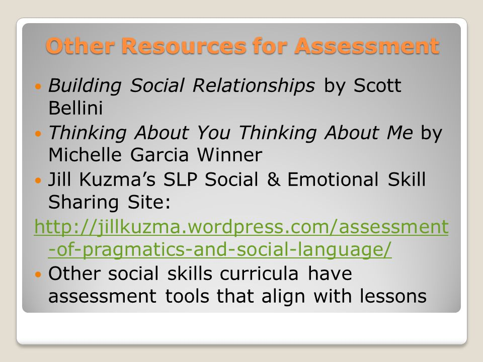 Other Resources for Assessment