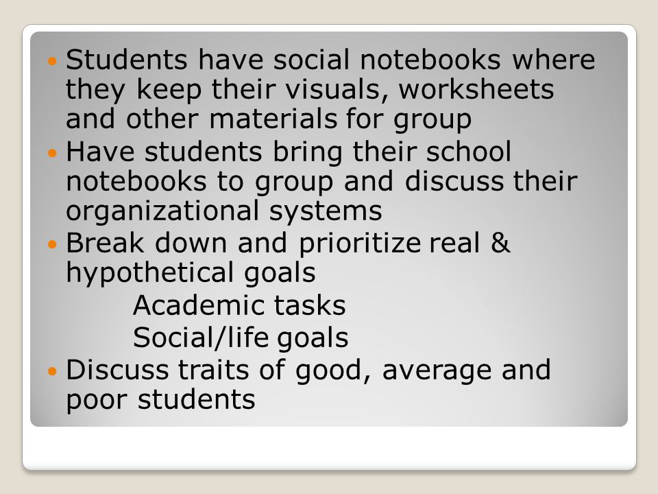 Students have social notebooks where they keep their visuals, worksheets and other materials for group