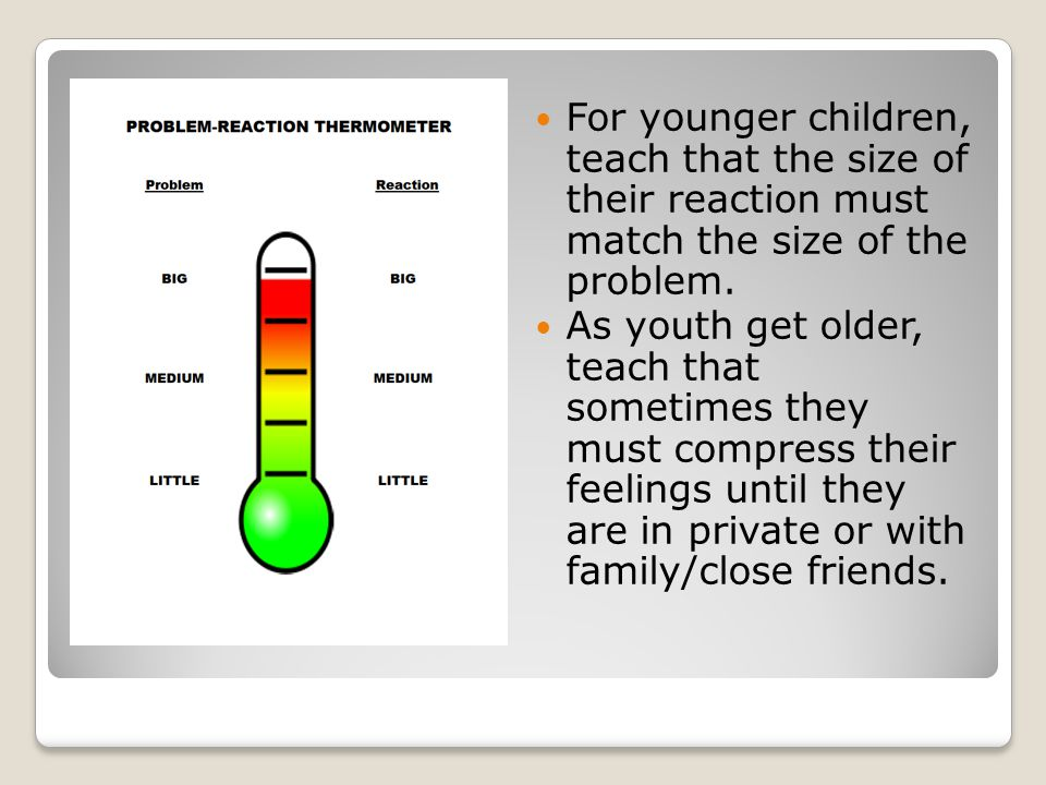 For younger children, teach that the size of their reaction must match the size of the problem.