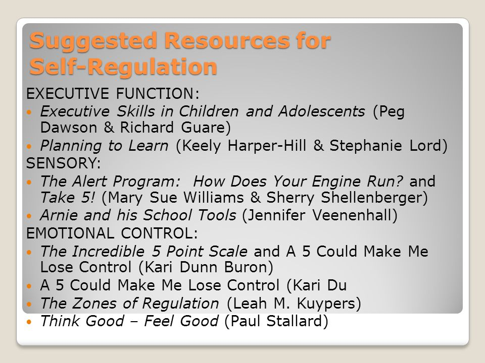 Suggested Resources for Self-Regulation