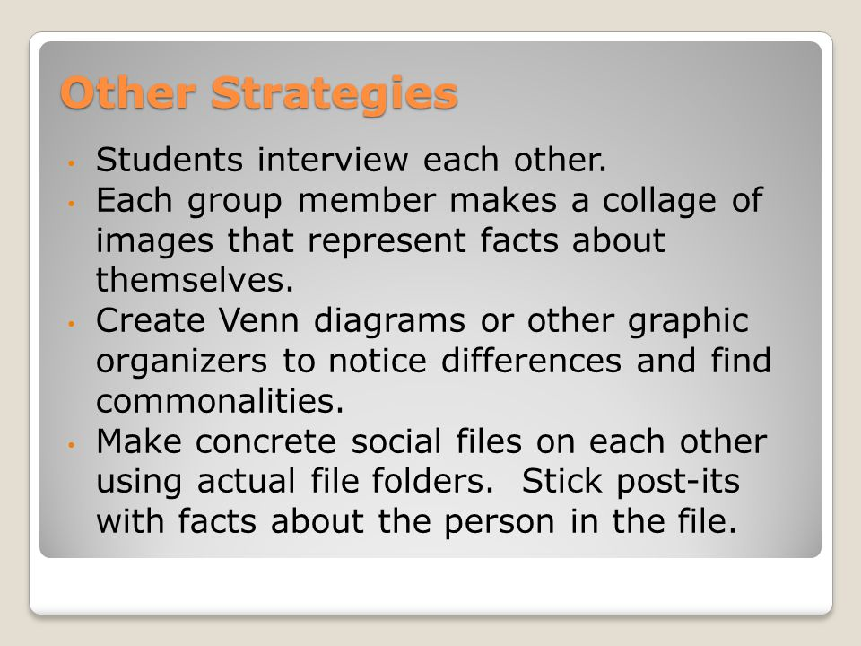 Other Strategies Students interview each other.