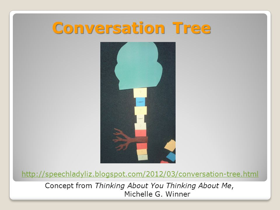 Conversation Tree http://speechladyliz.blogspot.com/2012/03/conversation-tree.html. Concept from Thinking About You Thinking About Me,