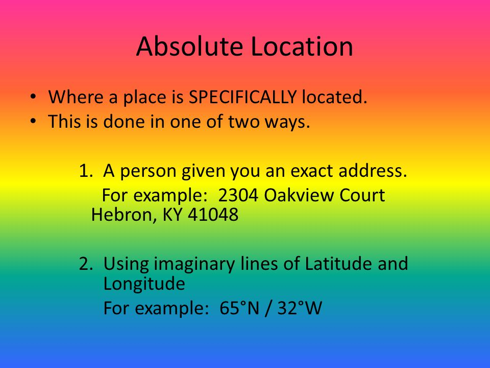 Absolute Location Where a place is SPECIFICALLY located.