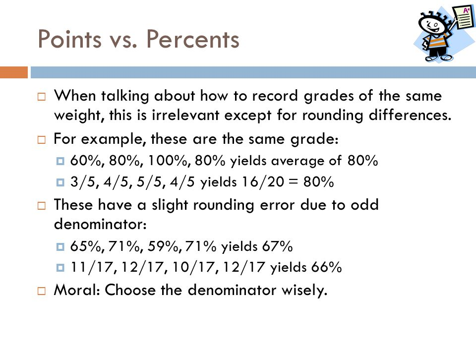 Points vs. Percents When talking about how to record grades of the same weight, this is irrelevant except for rounding differences.