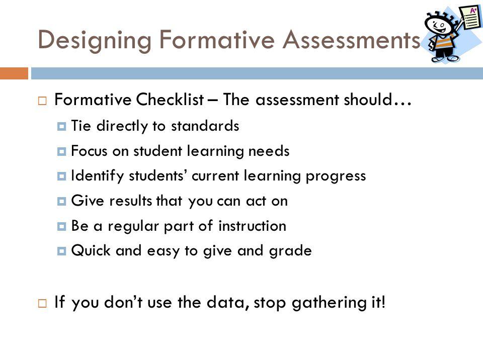 Designing Formative Assessments