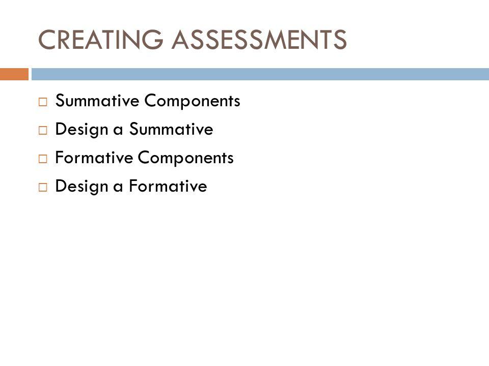 CREATING ASSESSMENTS Summative Components Design a Summative