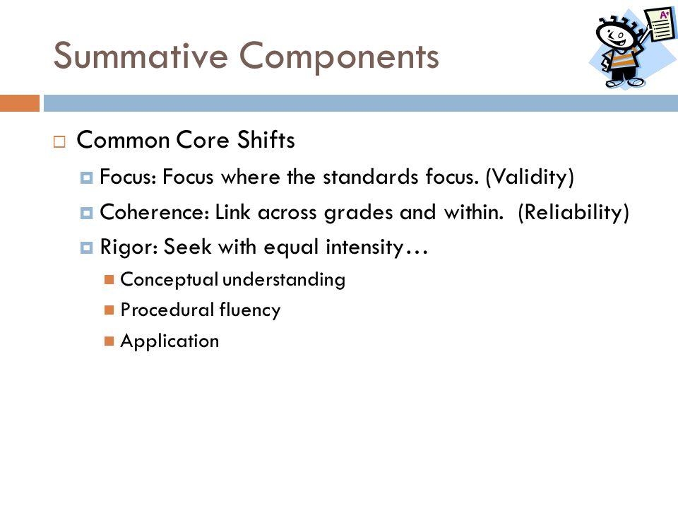 Summative Components Common Core Shifts