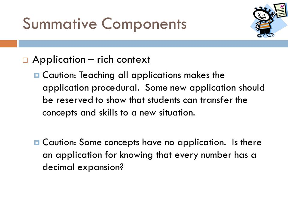 Summative Components Application – rich context