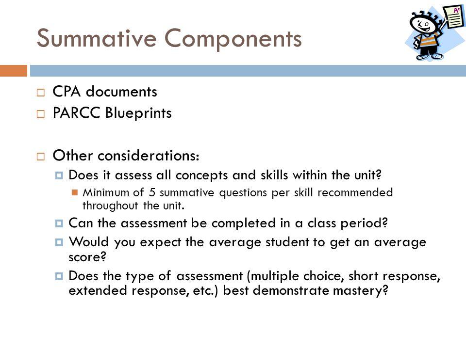 Summative Components CPA documents PARCC Blueprints