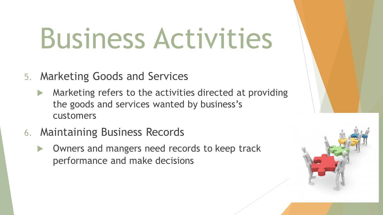 Business Activities Marketing Goods and Services