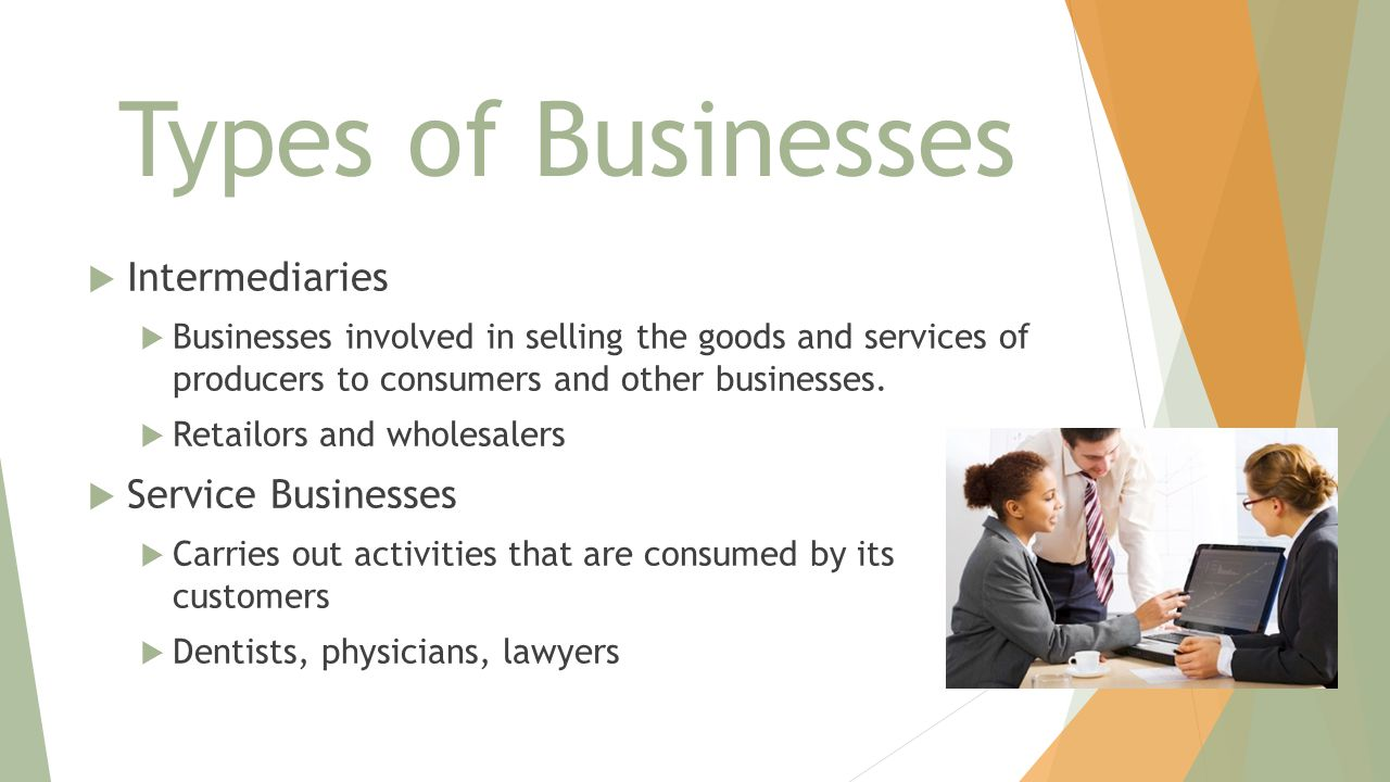 Types of Businesses Intermediaries Service Businesses