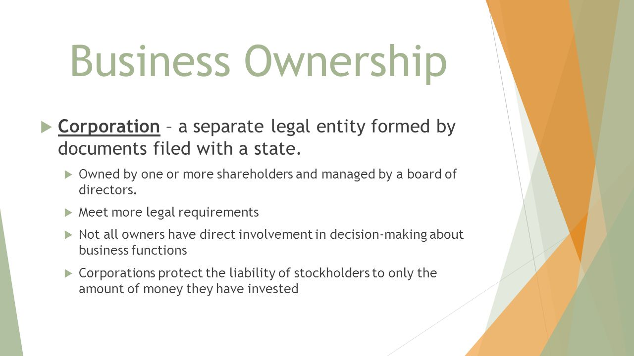 Business Ownership Corporation – a separate legal entity formed by documents filed with a state.