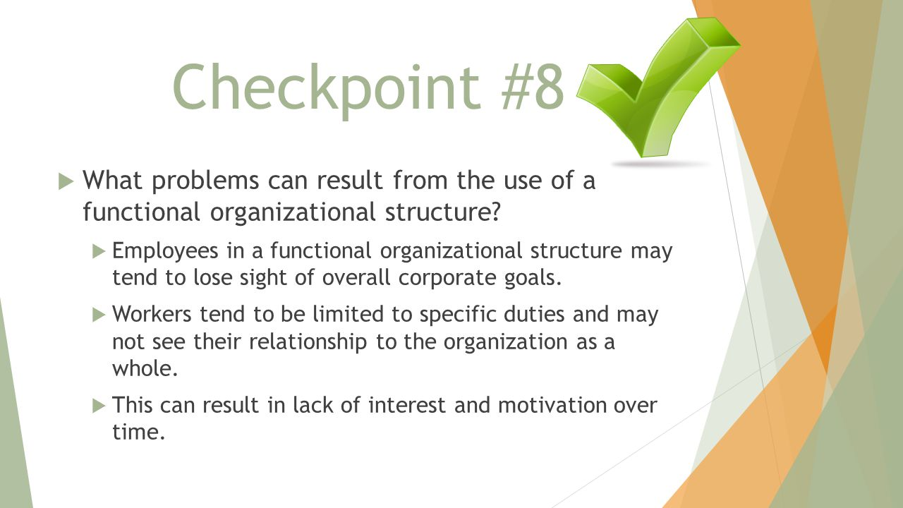 Checkpoint #8 What problems can result from the use of a functional organizational structure