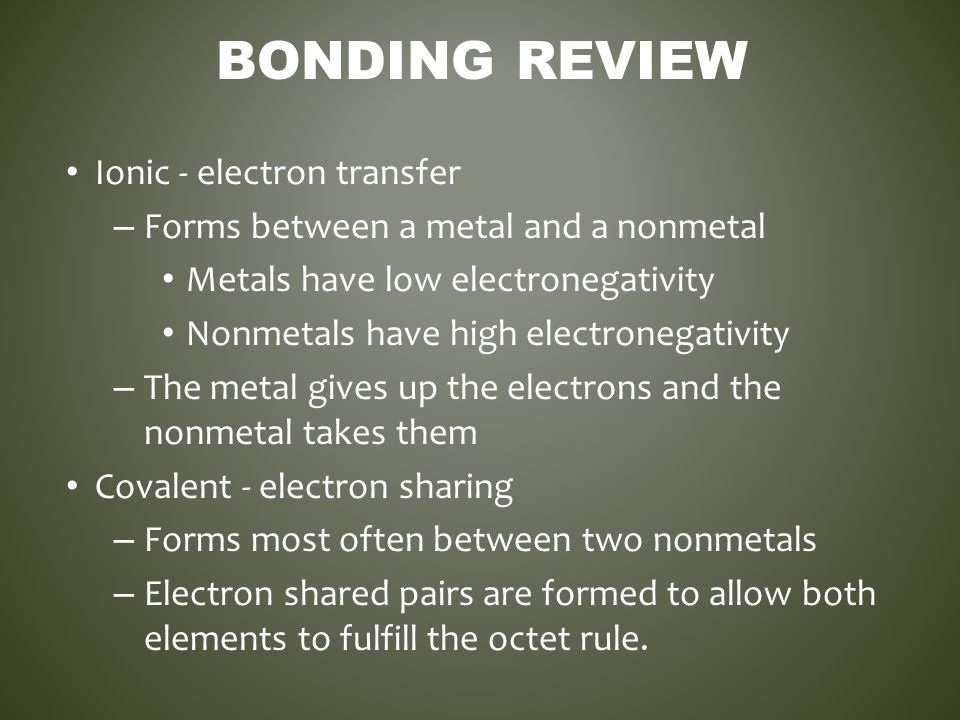 Bonding Review Ionic - electron transfer