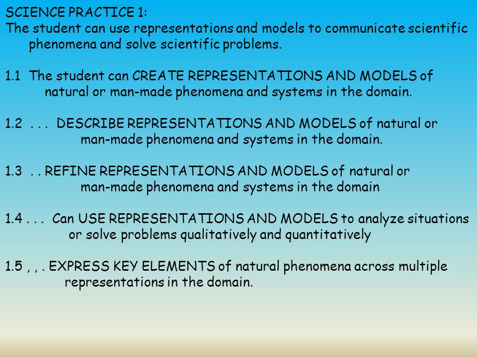 SCIENCE PRACTICE 1: The student can use representations and models to communicate scientific phenomena and solve scientific problems.