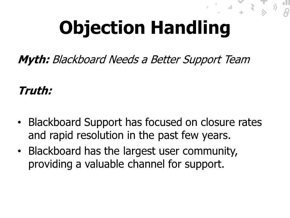 Objection Handling Myth: Blackboard Needs a Better Support Team Truth: