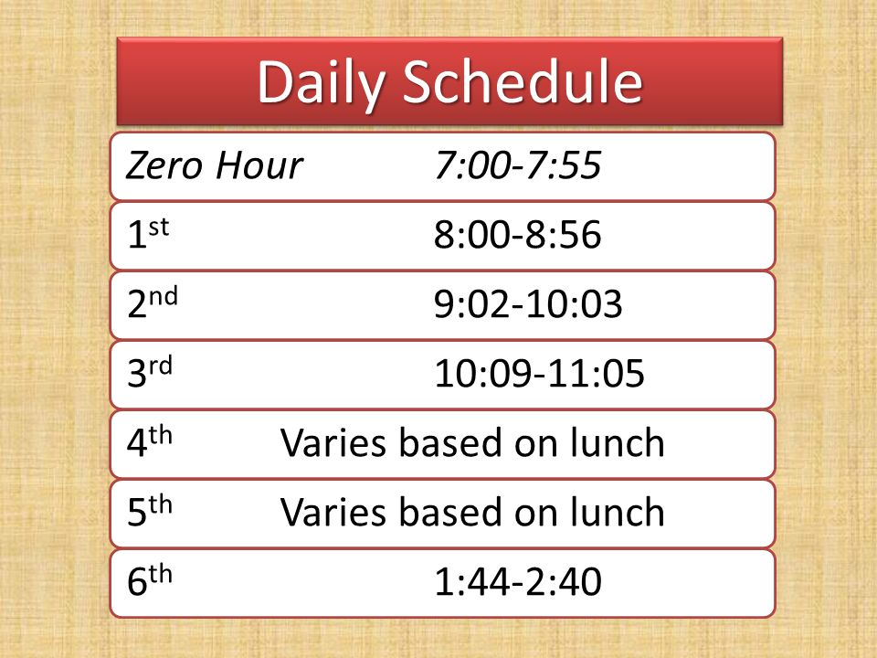 Daily Schedule Zero Hour 7:00-7:55 1st 8:00-8:56 2nd 9:02-10:03