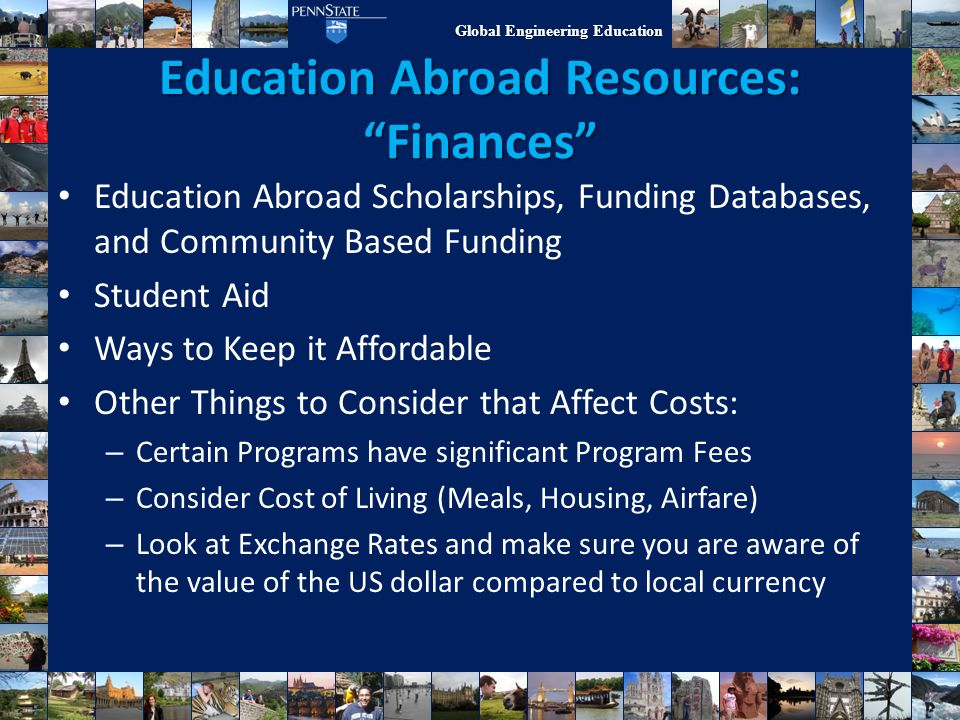 Education Abroad Resources: Finances