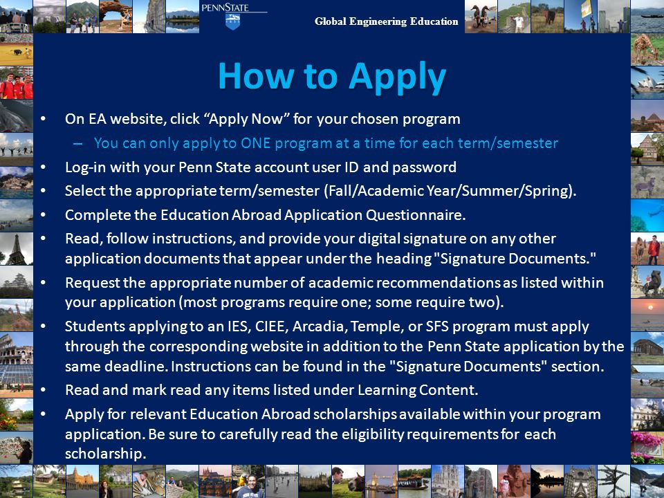 How to Apply On EA website, click Apply Now for your chosen program