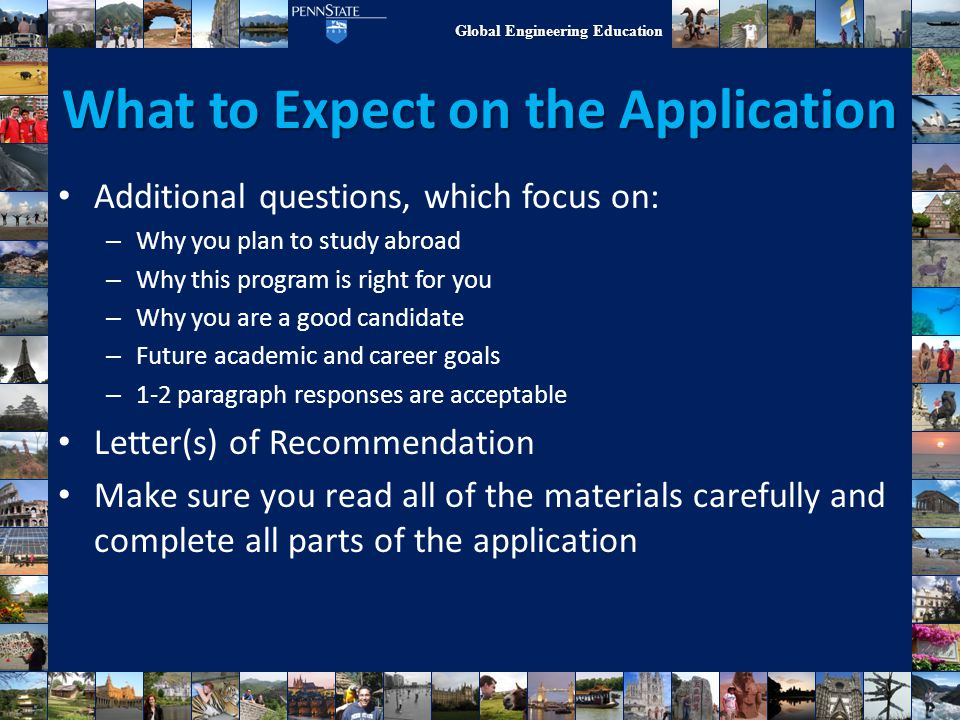 What to Expect on the Application