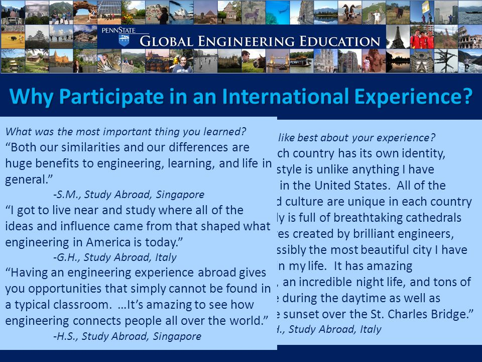 Why Participate in an International Experience