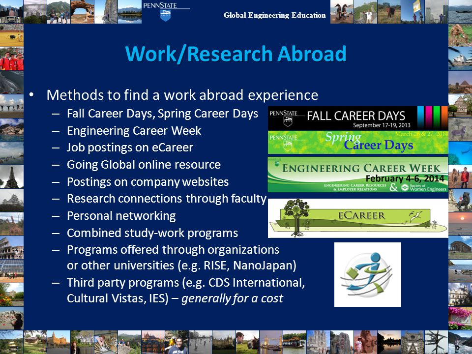Work/Research Abroad Methods to find a work abroad experience