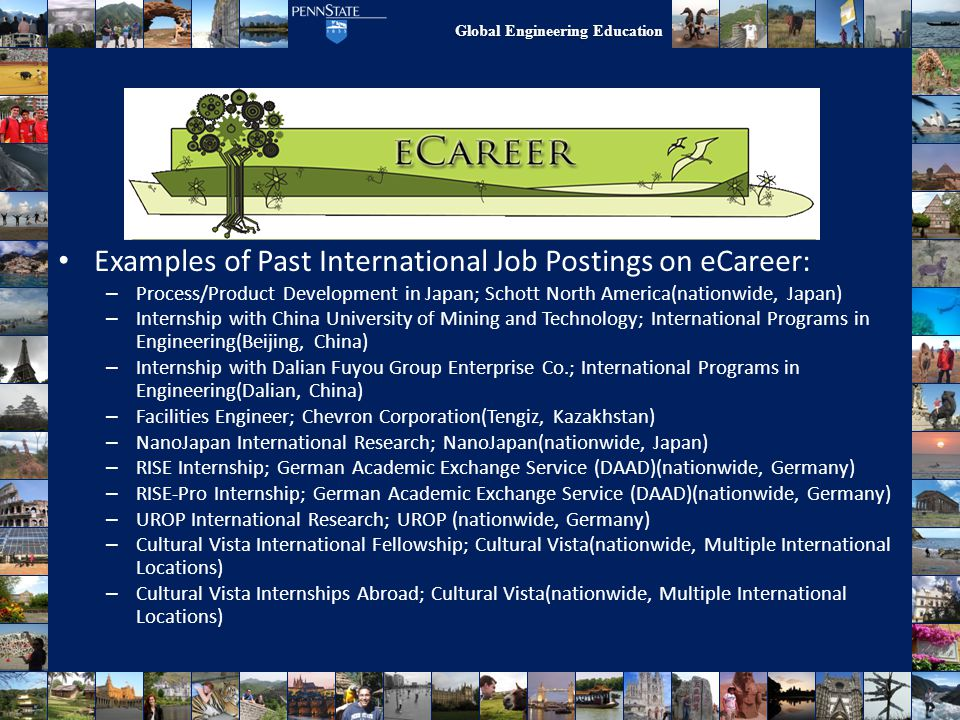 Work/Research Abroad Examples of Past International Job Postings on eCareer: