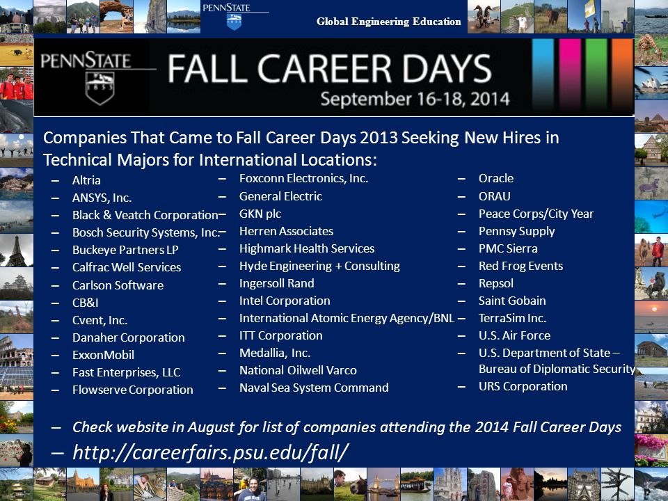 Companies That Came to Fall Career Days 2013 Seeking New Hires in Technical Majors for International Locations: