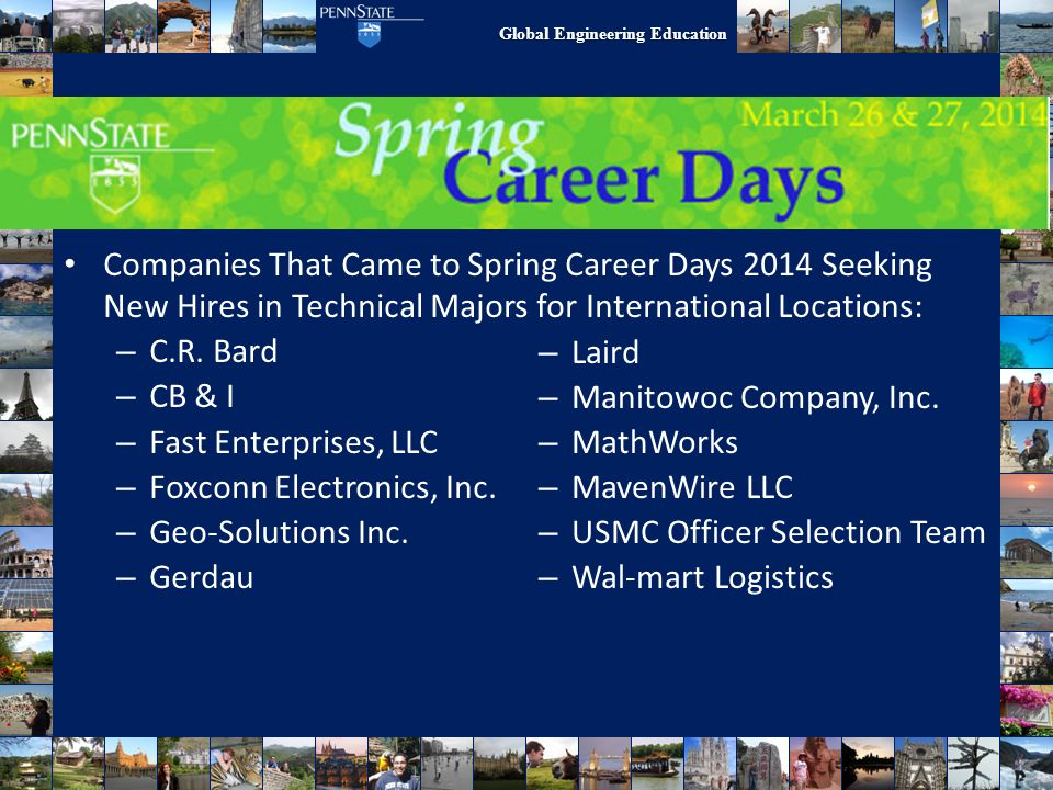 Work/Research Abroad Companies That Came to Spring Career Days 2014 Seeking New Hires in Technical Majors for International Locations:
