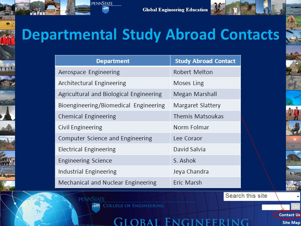 Departmental Study Abroad Contacts