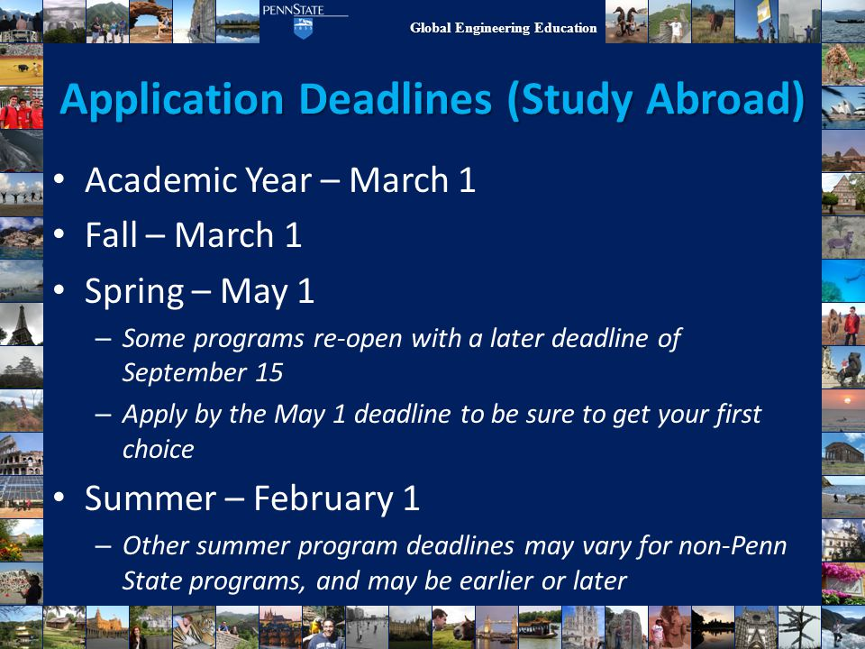 Application Deadlines (Study Abroad)