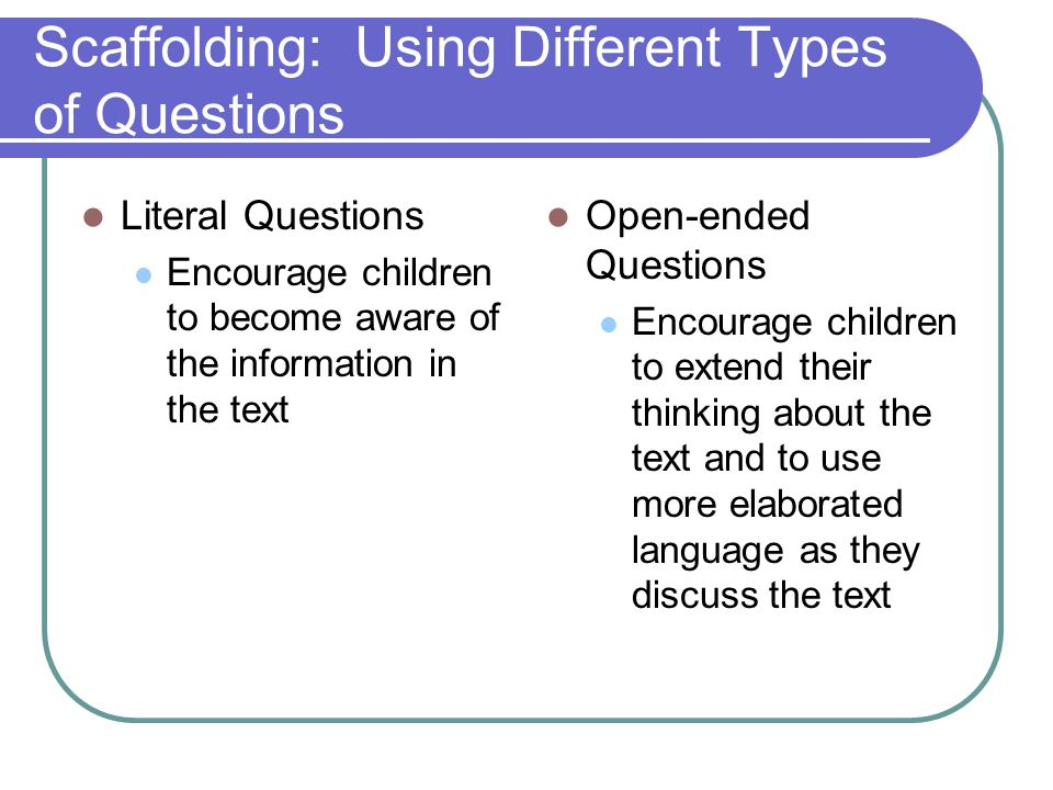 Scaffolding: Using Different Types of Questions