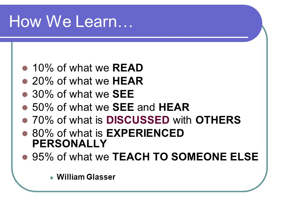How We Learn… 10% of what we READ 20% of what we HEAR