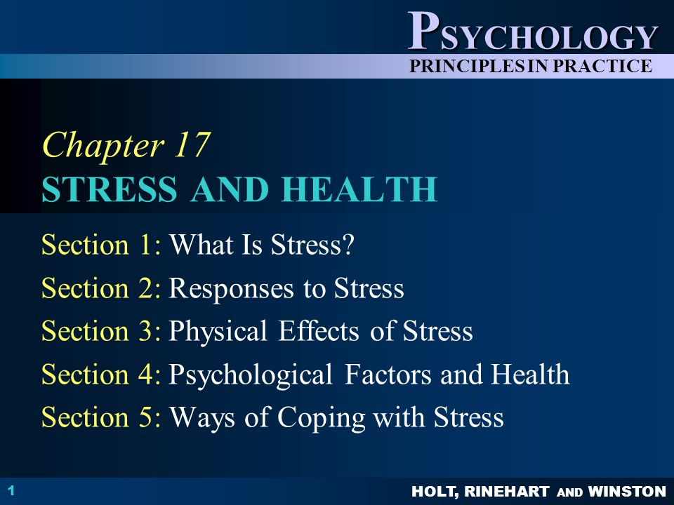 Chapter 17 STRESS AND HEALTH