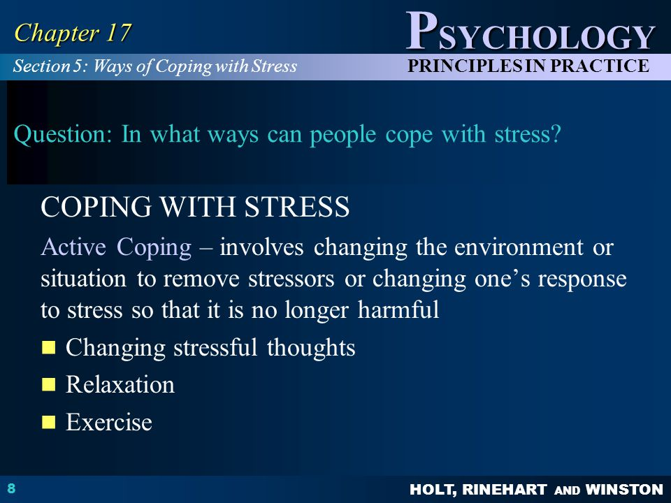 Question: In what ways can people cope with stress