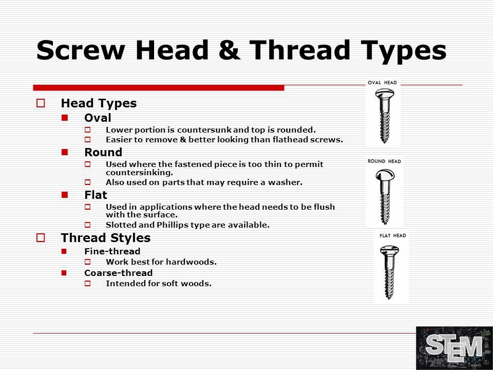 Screw Head & Thread Types