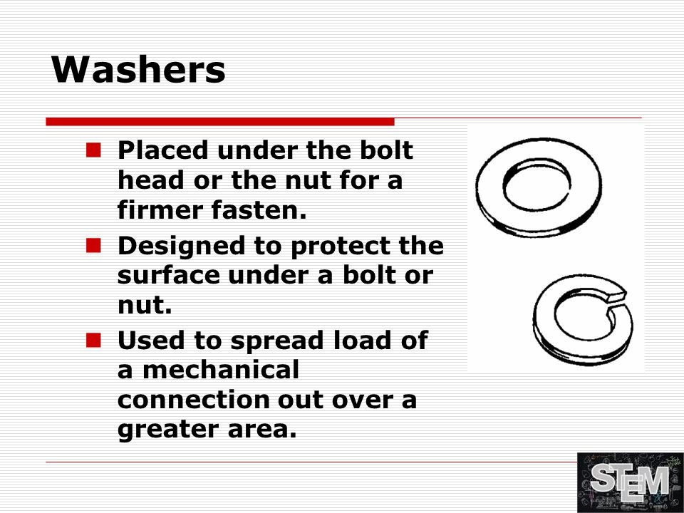 Washers Placed under the bolt head or the nut for a firmer fasten.